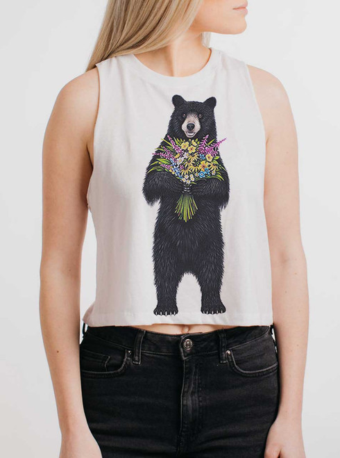 Bear Flowers - Multicolor on White Womens Cropped Racerback Tank