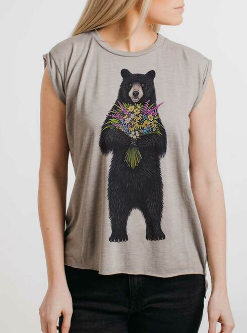Bear Flowers - Multicolor on Heather Stone Women's Rolled Cuff T-Shirt