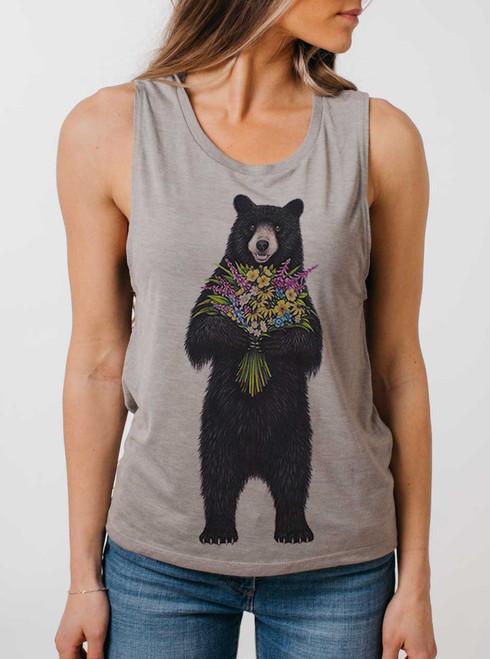 Bear Flowers - Multicolor on Heather Stone Womens Muscle Tank