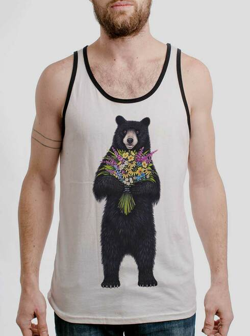 Bear Flowers - Multicolor on White with Black Mens Tank Top