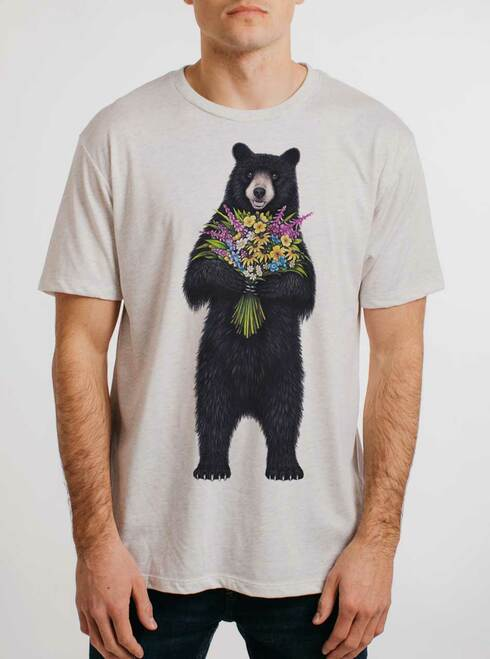 Bear Flowers - Multicolor on Heather White Triblend Mens T Shirt