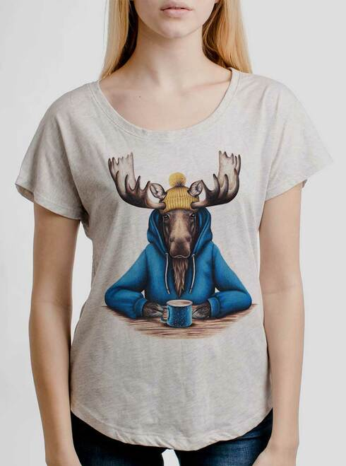 Moose and Mug - Multicolor on Heather White Triblend Womens Dolman T Shirt