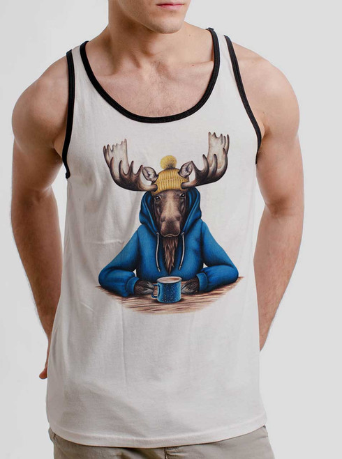Moose and Mug - Multicolor on White with Black Mens Tank Top