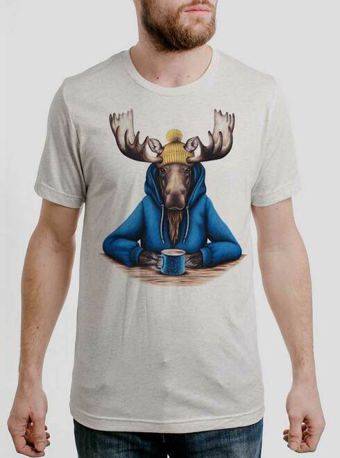 Moose and Mug - Multicolor on Heather White Triblend Mens T Shirt