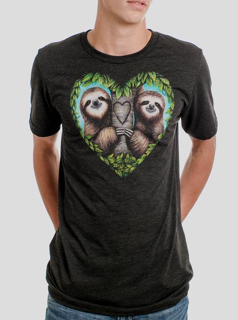 Sloth Love - Multicolor on Heather Black Triblend Mens T Shirt