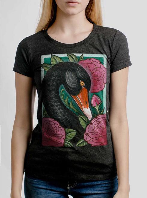 Black Swan - Multicolor on Heather Black Triblend Junior Womens T-Shirt