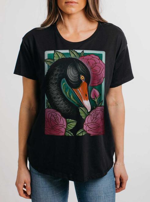 Black Swan - Multicolor on Black Womens Boyfriend T Shirt