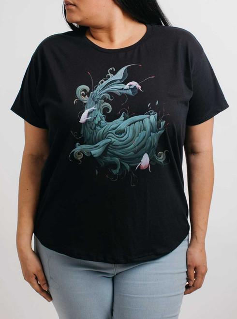 Whale Wonder - Multicolor on Black Womens Boyfriend T Shirt
