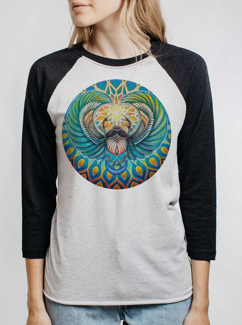 Scarab - Multicolor on Heather White and Black Triblend Womens Raglan