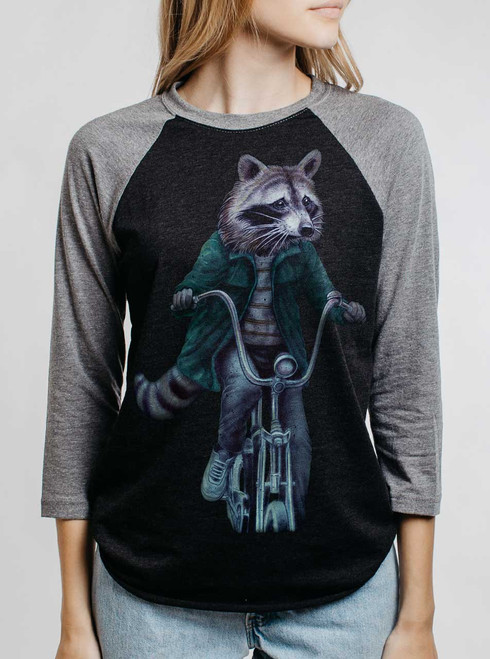 Raccoon - Multicolor on Heather Black and Grey Triblend Womens Raglan
