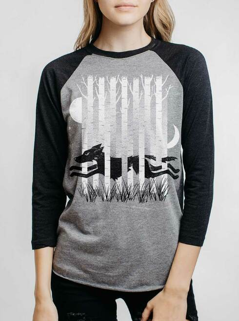 Ghost Hound - Multicolor on Heather Grey and Black Triblend Womens Raglan