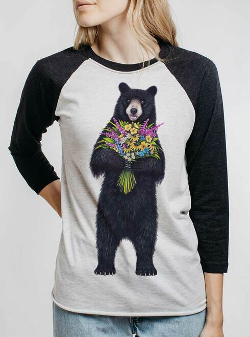 Bear Flowers - Multicolor on Heather White and Black Triblend Womens Raglan