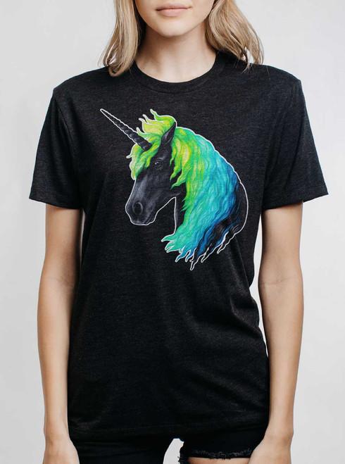 Unicorn - Multicolor on Heather Black Triblend Womens Unisex T Shirt