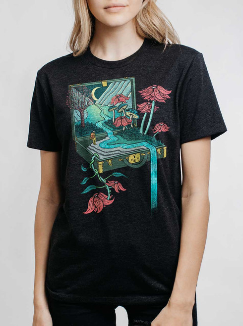 Traveling Suitcase - Multicolor on Heather Black Triblend Womens Unisex T Shirt