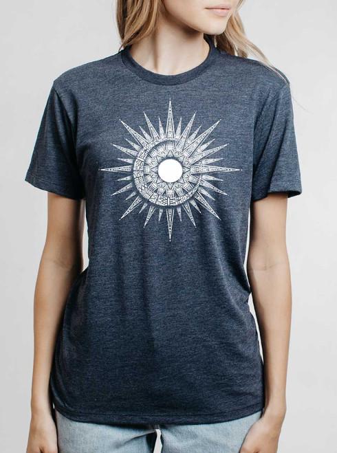 Sun & Moon - White on Heather Navy Womens Unisex T Shirt