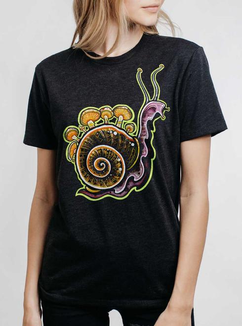 Snail - Multicolor on Heather Black Triblend Womens Unisex T Shirt