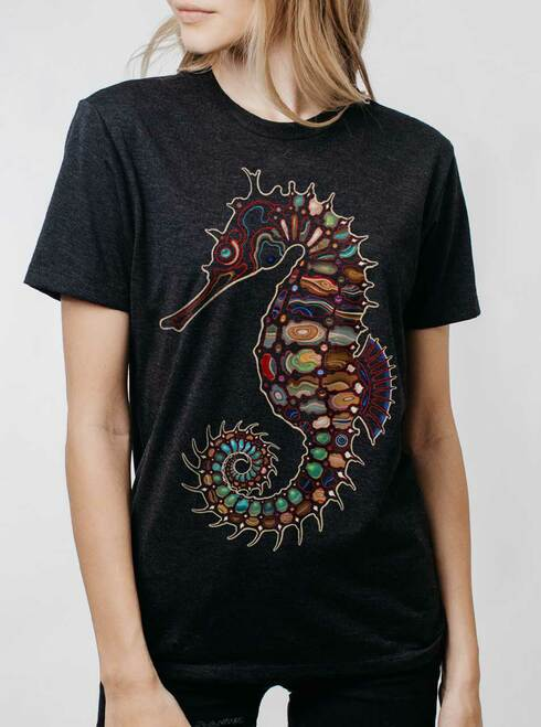 Seahorse - Multicolor on Heather Black Triblend Womens Unisex T Shirt