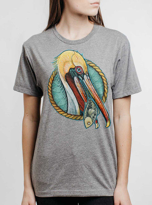 Pelican - Multicolor on Heather Grey Triblend Womens Unisex T Shirt