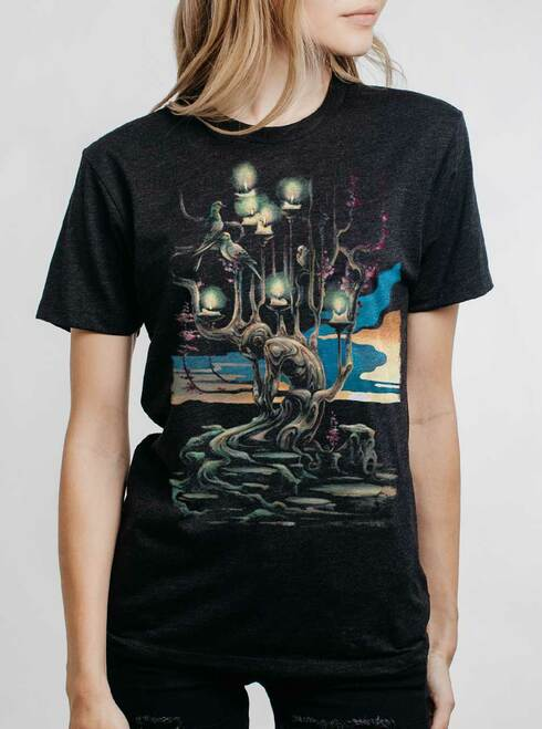 Mourning - Multicolor on Heather Black Triblend Womens Unisex T Shirt