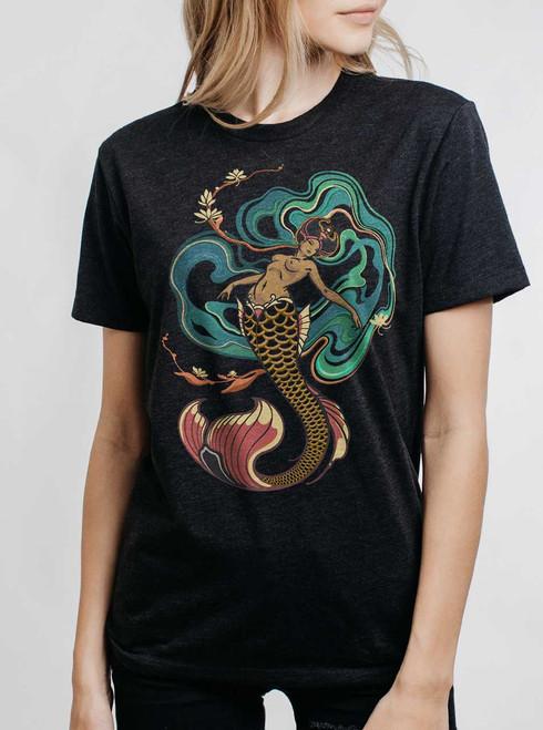 Mermaid - Multicolor on Heather Black Triblend Womens Unisex T Shirt