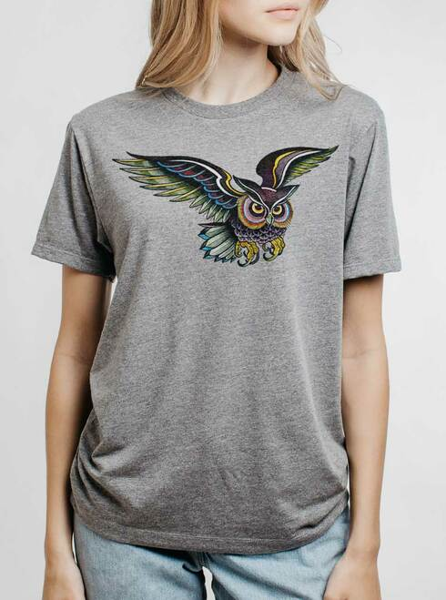 Little Owl - Multicolor on Heather Grey Triblend Womens Unisex T Shirt