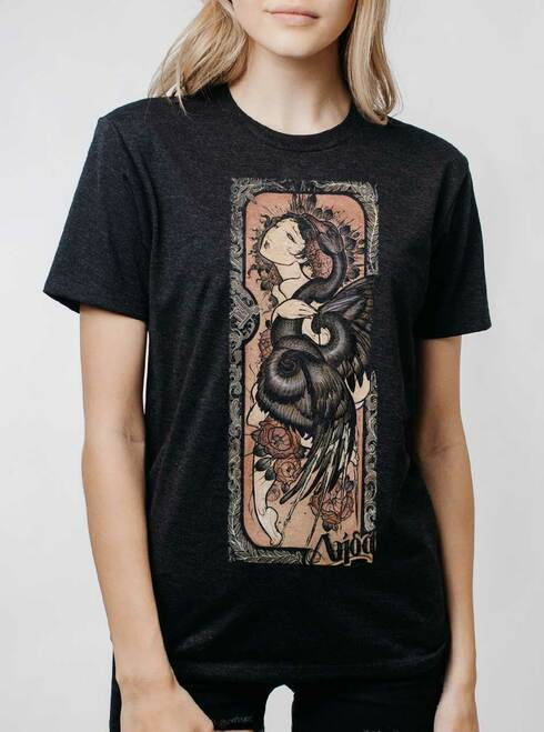 Lady and the Swan - Multicolor on Heather Black Triblend Womens Unisex T Shirt