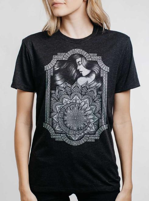 Lady & Lotus - White on Heather Black Triblend Womens Unisex T Shirt