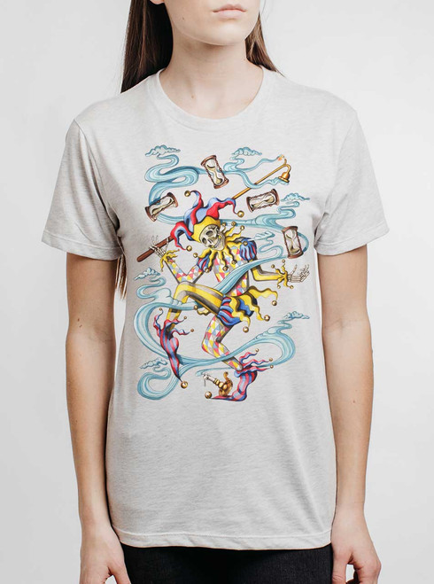 Juggler - Multicolor on Heather White Triblend Womens Unisex T Shirt
