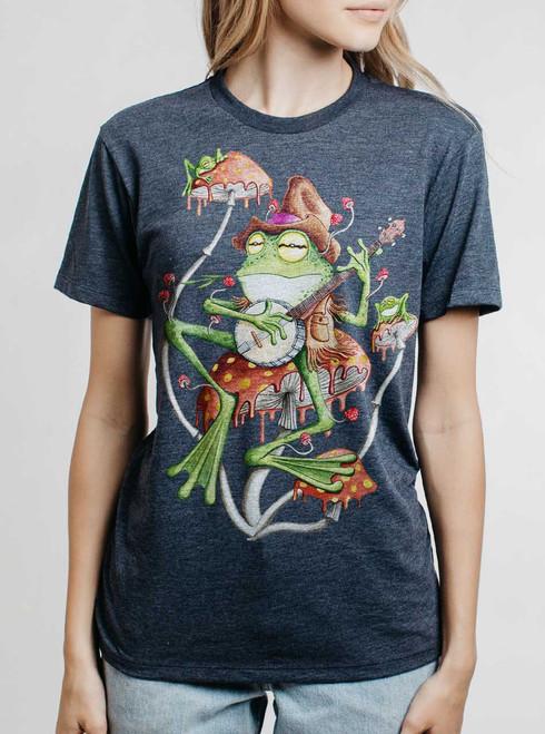 Folk Frog - Multicolor on Heather Navy Womens Unisex T Shirt