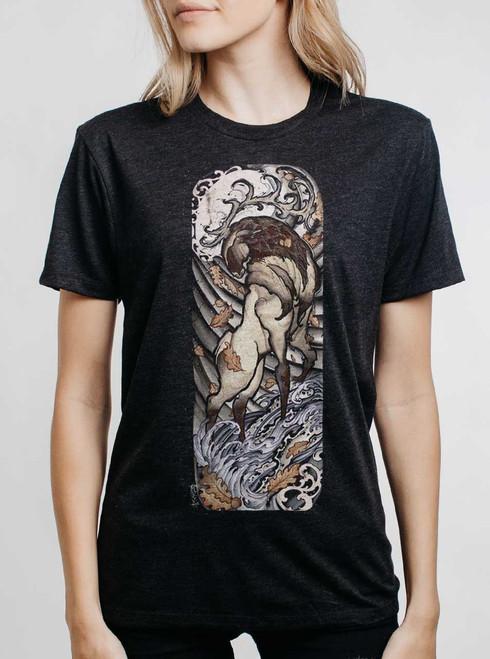 Elk - Multicolor on Heather Black Triblend Womens Unisex T Shirt