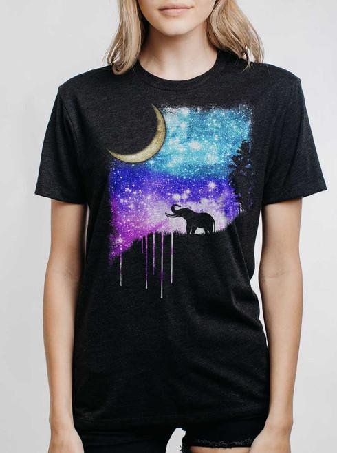 Elephant Moon - Multicolor on Heather Black Triblend Womens Unisex T Shirt