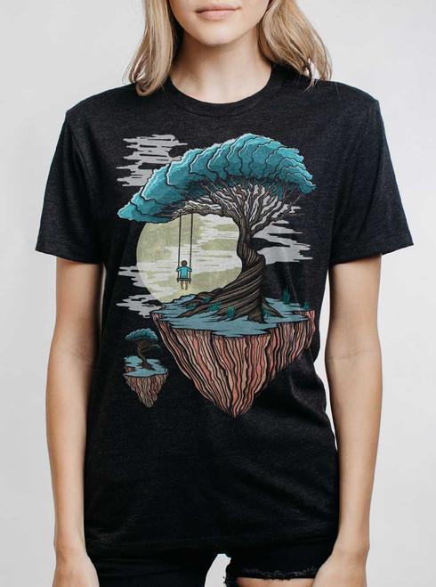 Drifting - Multicolor on Heather Black Triblend Womens Unisex T Shirt