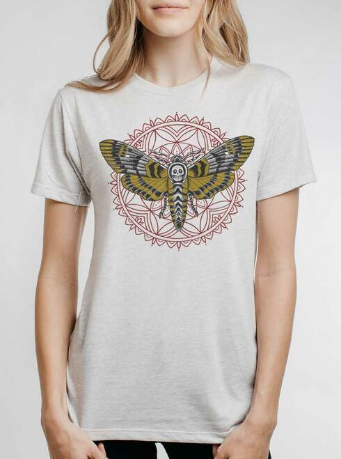Death Head - Multicolor on Heather White Triblend Womens Unisex T Shirt