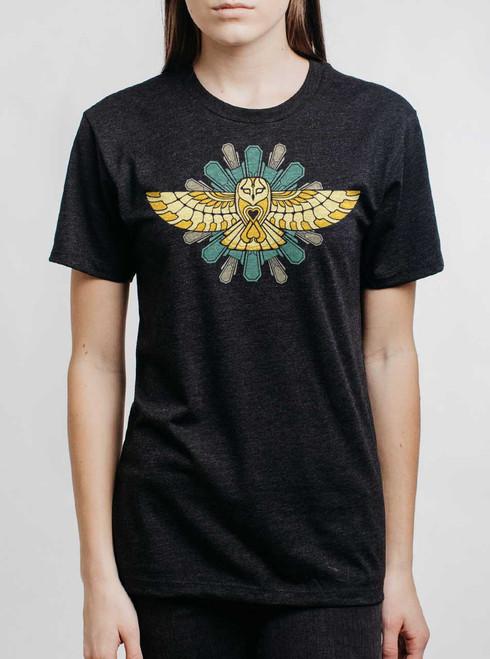 Cosmic Owl - Multicolor on Heather Black Triblend Womens Unisex T Shirt