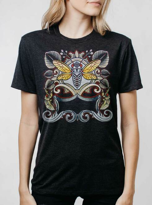 Cicada - Multicolor on Heather Black Triblend Womens Unisex T Shirt