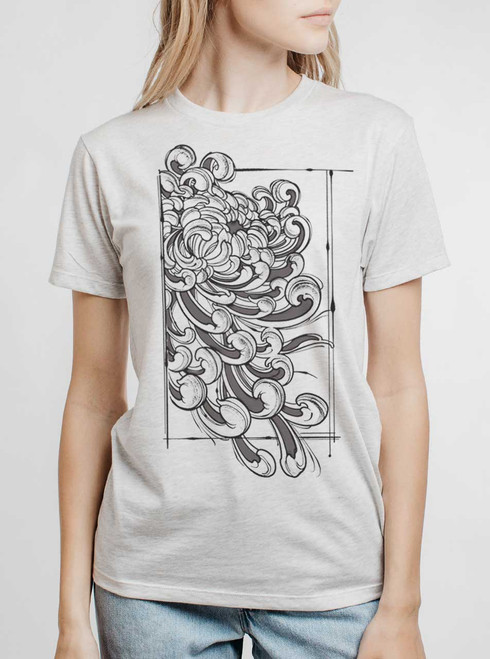 Chrysanthemum - Multicolor on Heather White Triblend Womens Unisex T Shirt