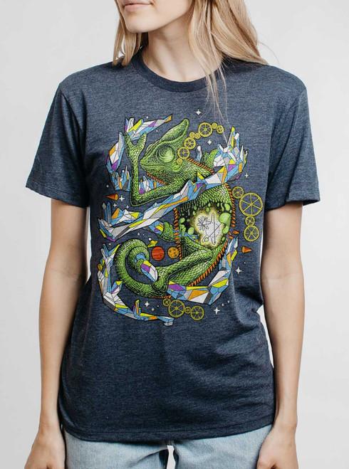 Chameleon - Multicolor on Heather Navy Triblend Womens Unisex T Shirt
