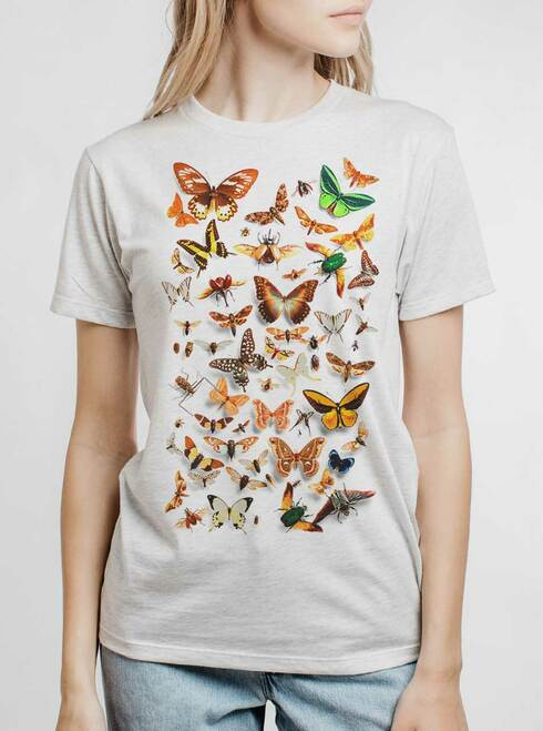 Bugs - Multicolor on Heather White Triblend Womens Unisex T Shirt