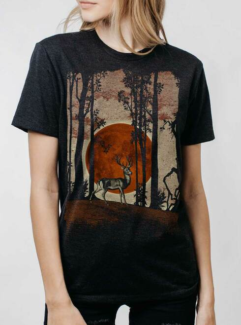 Buck Moon - Multicolor on Heather Black Triblend Womens Unisex T Shirt