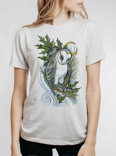 Barn Owl - Multicolor on Heather White Triblend Womens Unisex T Shirt