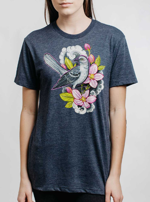 Apple Blossoms - Multicolor on Heather Navy Triblend Womens Unisex T Shirt