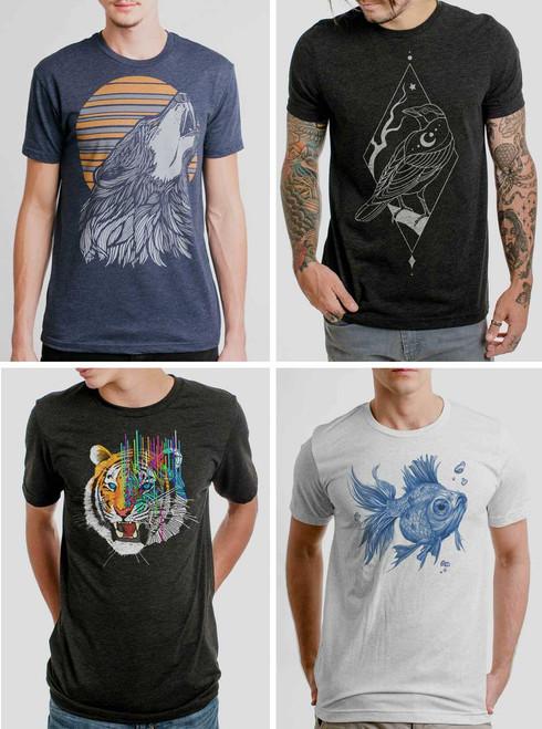 Animal Pack - 4 Triblend Animal T Shirts