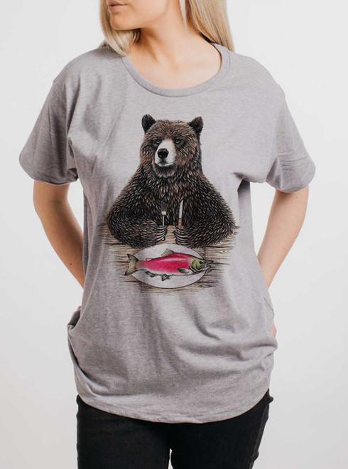 Bear Food - Multicolor on Heather Grey Womens Boyfriend T Shirt