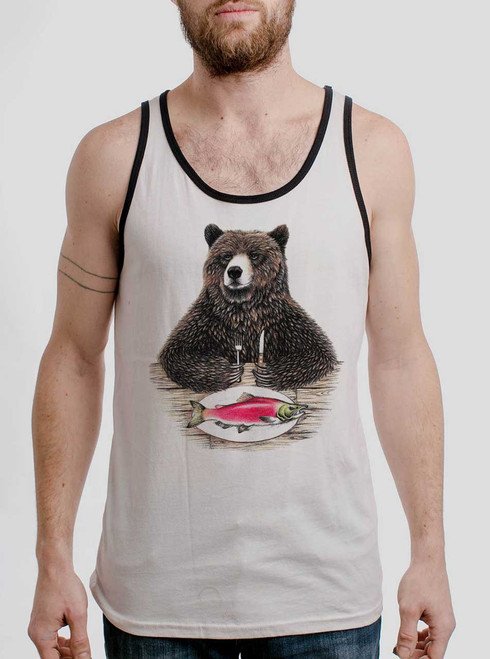 Bear Food - Black on White with Black Mens Tank Top