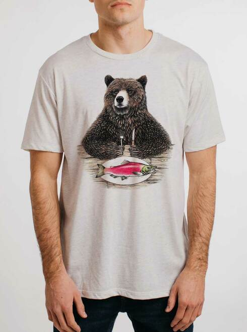 Bear Food - Multicolor on Heather White Triblend Mens T Shirt