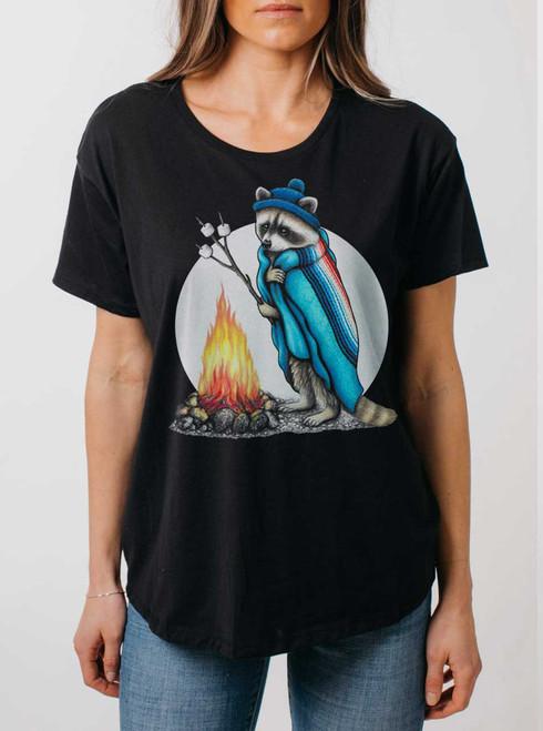 Roasting Raccoon - Multicolor on Black Womens Boyfriend T Shirt