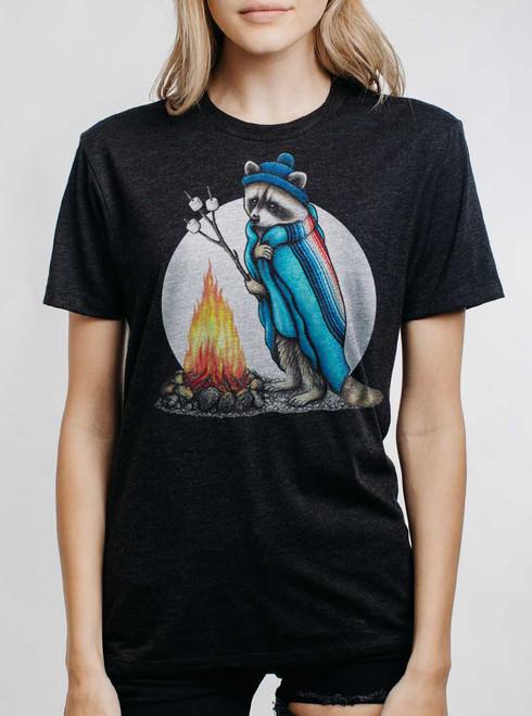 Roasting Raccoon - Multicolor on Heather Black Triblend Womens Unisex T Shirt