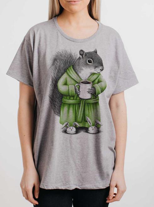 Coffee Squirrel - Multicolor on Heather Grey Womens Boyfriend T Shirt