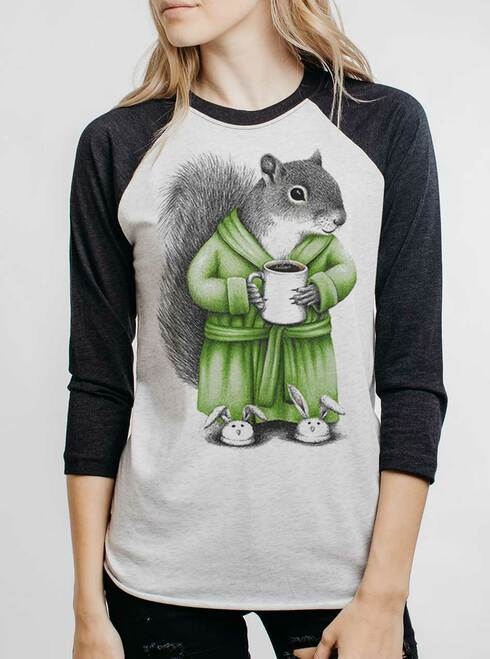 Coffee Squirrel - Multicolor on Heather White and Black Triblend Womens Raglan