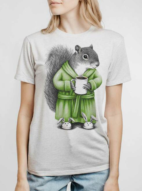 Coffee Squirrel - Multicolor on Heather White Triblend Womens Unisex T Shirt